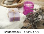 homemade soap with lavender...   Shutterstock . vector #673435771