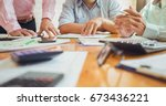business meetings with... | Shutterstock . vector #673436221
