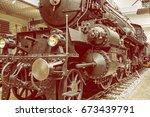 steam locomotive in national... | Shutterstock . vector #673439791