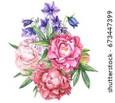 flowers  bouquet of bells ...   Shutterstock . vector #673447399