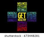 get healthy word cloud  health... | Shutterstock .eps vector #673448281