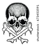 decorative human skull. design... | Shutterstock .eps vector #673453591