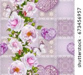 floral background. seamless... | Shutterstock . vector #673456957