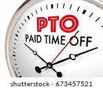 pto paid time off clock... | Shutterstock . vector #673457521