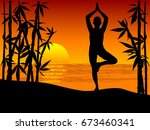 silhouette of woman practicing...   Shutterstock .eps vector #673460341