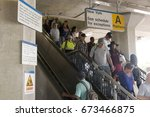 """Small photo of Babylon, N.Y. USA - 29 June 2017: Commuters arrive late at the Babylon train station wondering what it will be like in two weeks when the """"Summer of Hell"""" begins"""