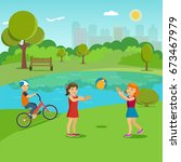 children playing in the summer... | Shutterstock .eps vector #673467979