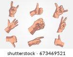set of realistic hands  ...   Shutterstock . vector #673469521