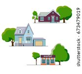 colorful houses vector.  with a ...