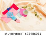 korean traditional gift box on... | Shutterstock . vector #673486081