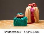 korean traditional gift box on... | Shutterstock . vector #673486201