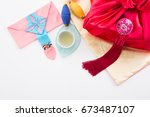 asian traditional gift box on... | Shutterstock . vector #673487107
