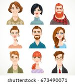 set of portraits of avatars of... | Shutterstock .eps vector #673490071