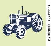 vector image of tractor. logo... | Shutterstock .eps vector #673504441