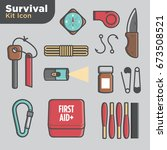 survival kit icon set | Shutterstock .eps vector #673508521