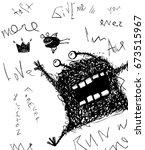 horrible scribble hand drawn... | Shutterstock . vector #673515967