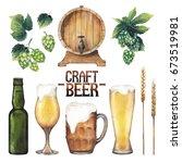 watercolor glasses of beer ... | Shutterstock . vector #673519981
