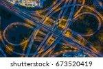 aerial view interchange of city ... | Shutterstock . vector #673520419