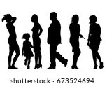 families with child on white... | Shutterstock .eps vector #673524694