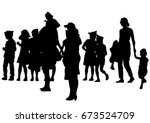 families with child on white... | Shutterstock .eps vector #673524709