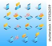an isometric phone  an... | Shutterstock .eps vector #673526359