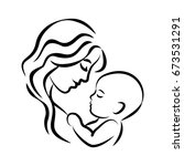 mother with her baby. stylized... | Shutterstock . vector #673531291