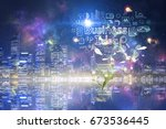 night city background. mixed... | Shutterstock . vector #673536445