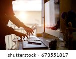young hipster graphic designer... | Shutterstock . vector #673551817