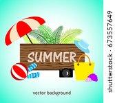 summer vector banner design... | Shutterstock .eps vector #673557649