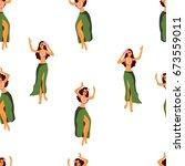 hawaii dance seamless pattern.... | Shutterstock .eps vector #673559011