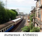 trains run to the terminal | Shutterstock . vector #673560211