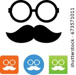 glasses and mustache icon | Shutterstock .eps vector #673571011