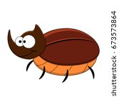 Cute Cartoon Rhinoceros Beetle...