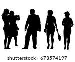 big crowds people of wedding on ... | Shutterstock .eps vector #673574197