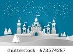vector illustration of castle... | Shutterstock .eps vector #673574287