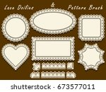 set of napkins with lace edges... | Shutterstock .eps vector #673577011