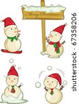 illustration of various snowmen ... | Shutterstock . vector #67358206