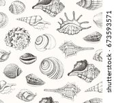 seamless pattern with seashells.... | Shutterstock .eps vector #673593571
