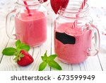 smoothies made from organic... | Shutterstock . vector #673599949