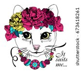 vector white cat with wreath... | Shutterstock .eps vector #673618261