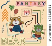 fantasy bear  kids t shirt... | Shutterstock .eps vector #673625581