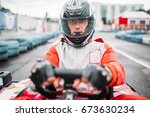 carting race  go kart driver in ... | Shutterstock . vector #673630234