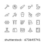 simple set of construction... | Shutterstock .eps vector #673645741