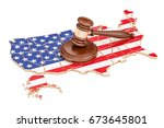 Wooden Gavel On Map Of Usa  3d...