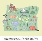 illustrated map of oregon state ...   Shutterstock .eps vector #673658074