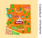 illustrated map of arizona  usa....   Shutterstock .eps vector #673658311