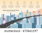 timeline infographic road... | Shutterstock .eps vector #673661197