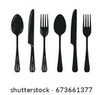 tableware such as spoon  knife  ...   Shutterstock .eps vector #673661377