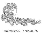 woman silhouette for colouring  ... | Shutterstock .eps vector #673663375