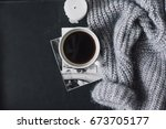 winter cozy concept. flatlay of ... | Shutterstock . vector #673705177
